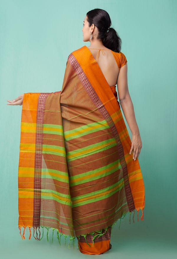 Online Shopping for Green-Red Pure Handloom Narayanpet Cotton Saree with Weaving from Tamilnadu at Unnatisilks.comIndia