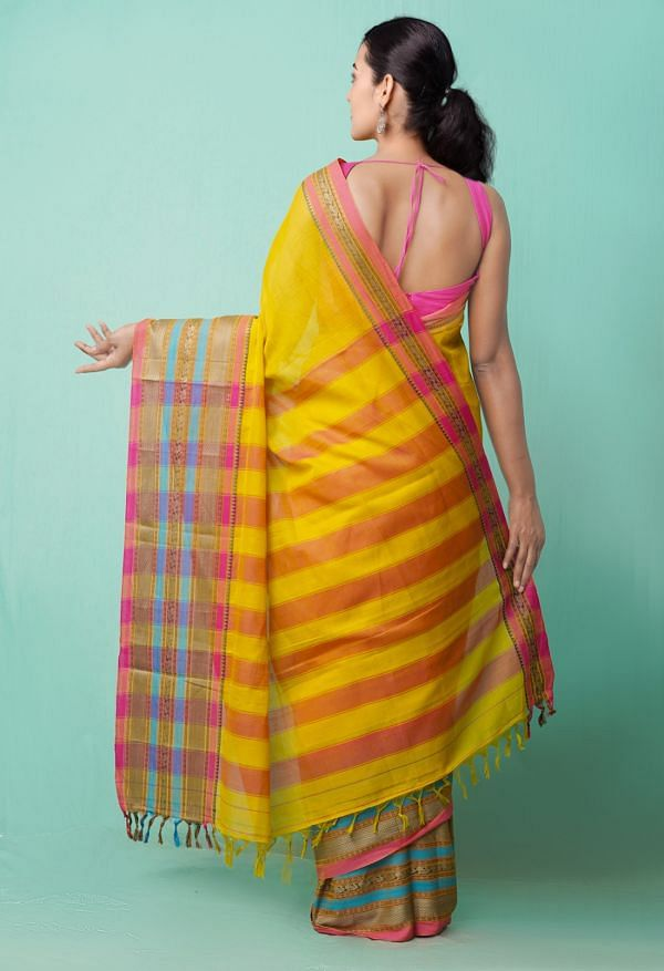 Online Shopping for Yellow Pure Handloom Narayanpet Cotton Saree with Weaving from Tamilnadu at Unnatisilks.comIndia