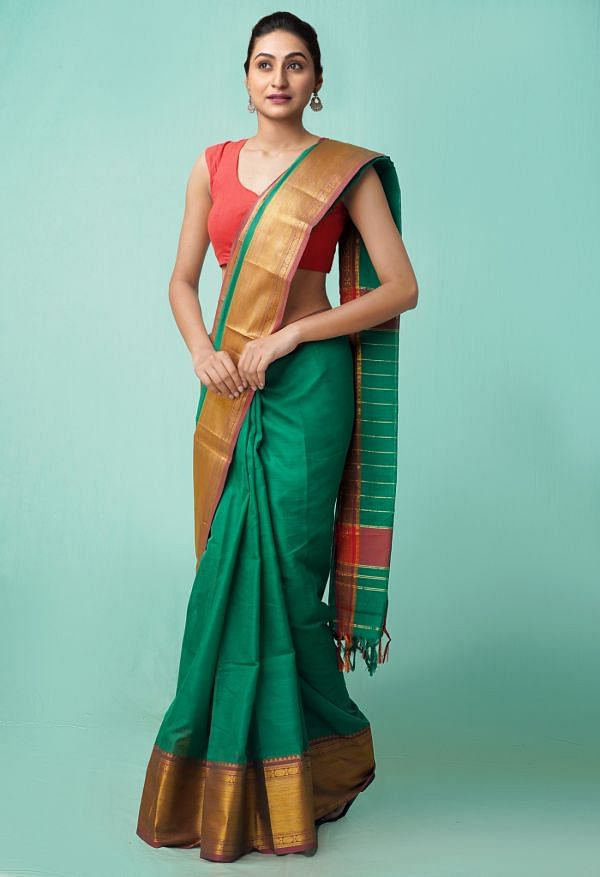 Online Shopping for Green Pure Handloom Narayanpet Cotton Saree with Weaving from Tamilnadu at Unnatisilks.comIndia