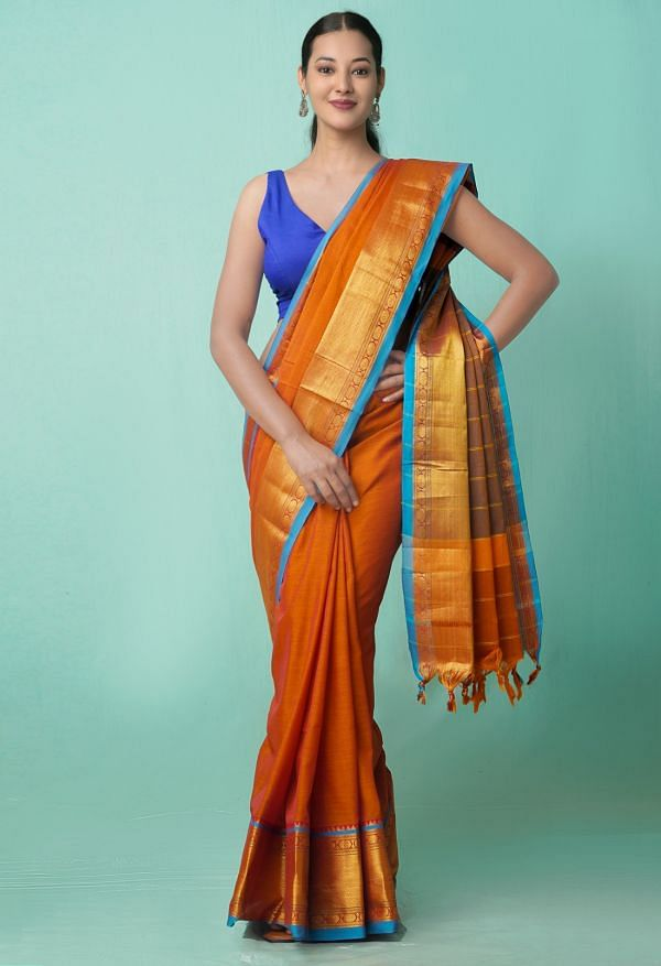 Online Shopping for Orange Pure Handloom Narayanpet Cotton Saree with Weaving from Tamilnadu at Unnatisilks.comIndia