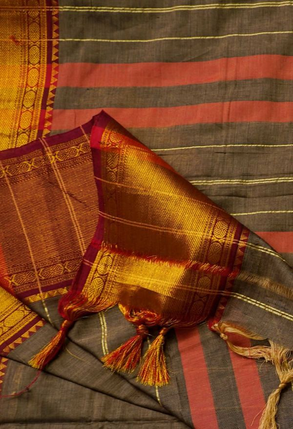 Online Shopping for Brown Pure Handloom Narayanpet Cotton Saree with Weaving from Andhra Pradesh at Unnatisilks.comIndia