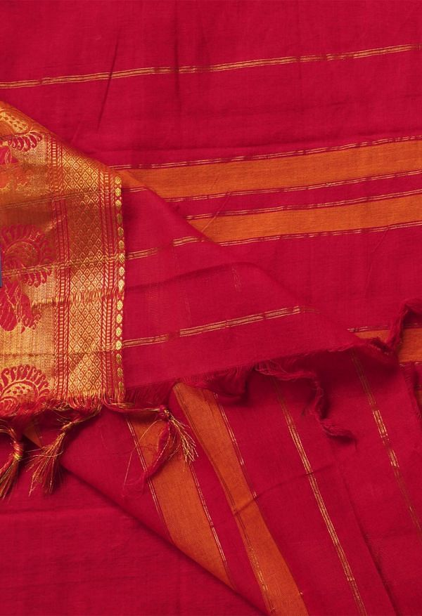 Online Shopping for Red Pure Handloom Narayanpet Cotton Saree with Weaving from Kanchi at Unnatisilks.comIndia