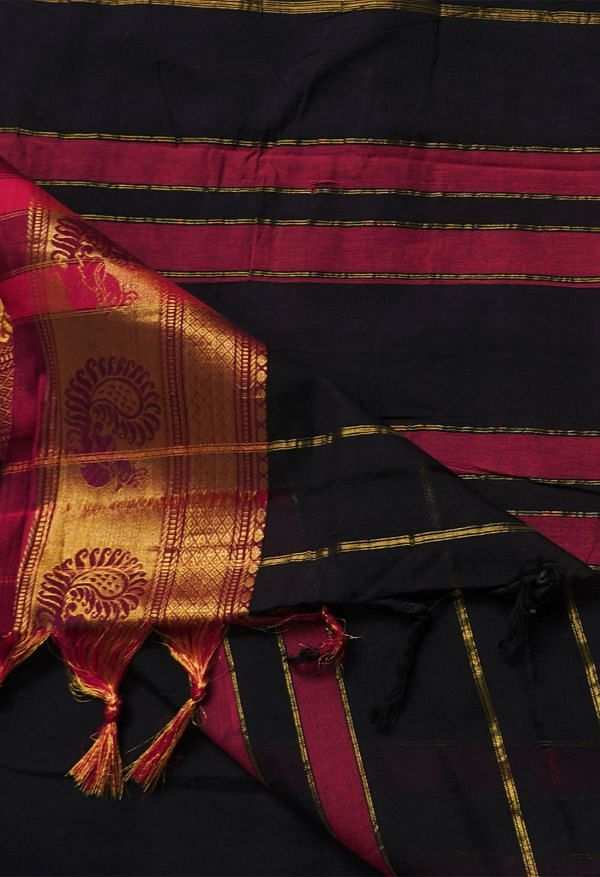 Online Shopping for Black Pure Handloom Narayanpet Cotton Saree with Weaving from Kanchi at Unnatisilks.comIndia