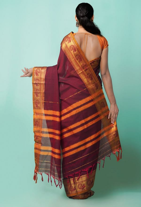 Online Shopping for Maroon Pure Handloom Narayanpet Cotton Saree with Weaving from Kanchi at Unnatisilks.comIndia