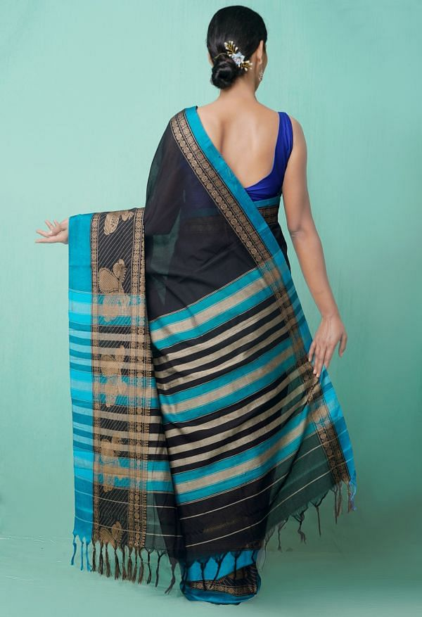 Online Shopping for Black Pure Handloom Kanchi Cotton Saree with Weaving from Kanchi at Unnatisilks.comIndia