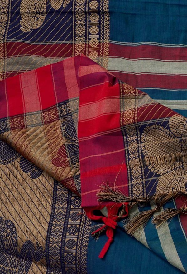 Online Shopping for Blue-Green Pure Handloom Kanchi Cotton Saree with Weaving from Kanchi at Unnatisilks.comIndia