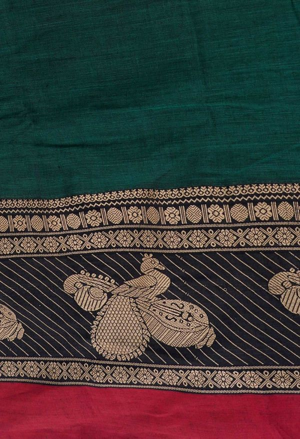 Online Shopping for Green Pure Handloom Kanchi Cotton Saree with Weaving from Kanchi at Unnatisilks.comIndia