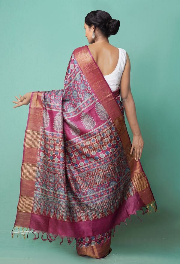 Online Shopping for Purple Pure Handloom Block Printed Bengal Tussar Silk Saree with Hand Block Prints from West Bengal at Unnatisilks.comIndia