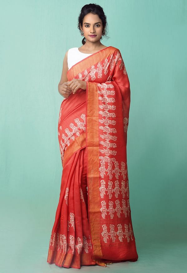 Online Shopping for Red Pure Handloom Block Printed Bengal Muga Silk Saree with Hand Block Prints from West Bengal at Unnatisilks.comIndia