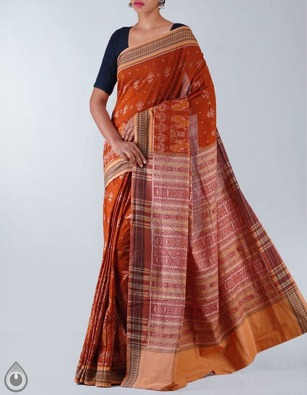 UNM5661-Brown Sambalpuri Handloom Mercerized Sico Tie& Dye Saree