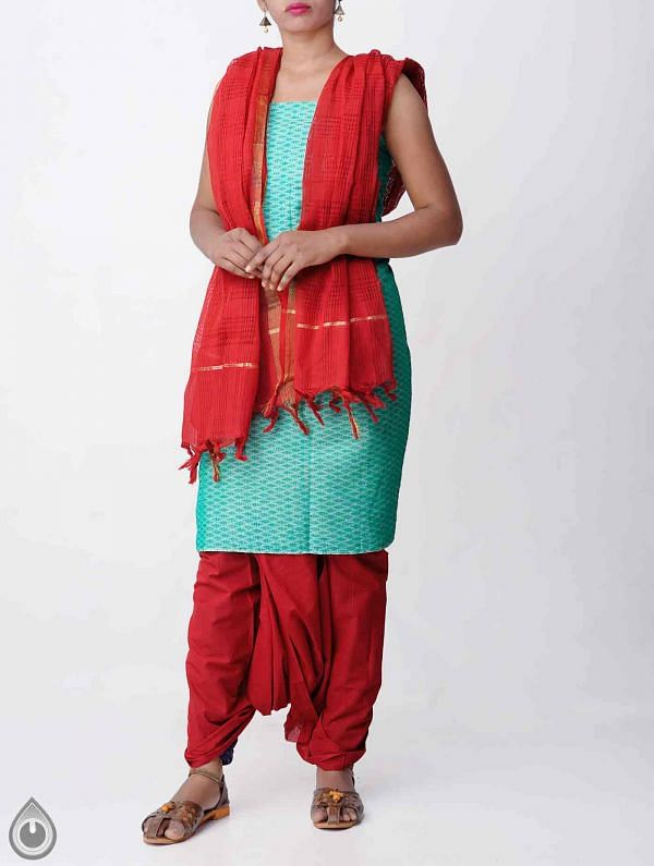 Unstitched Green-Red Pure Rajasthani Cotton Salwar Kameez