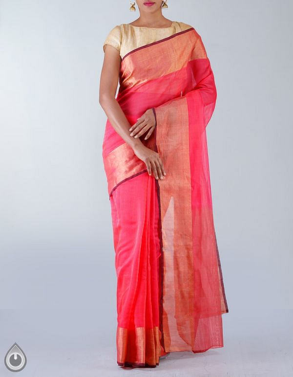 Online Shopping for Brink Pink Pure Handloom Bengal Sico Saree with   weaving from West Bengal at Unnatisilks.com, India