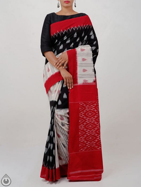 Black-Off white Pure Handloom Pochampally Ikat Cotton Saree With Intricate Designs-UNT085