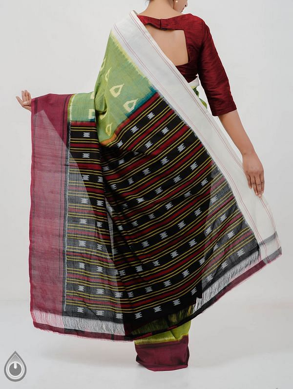 Green Pure Handloom pochampally Ikat Cotton Saree With Intricate Designs-UNT001