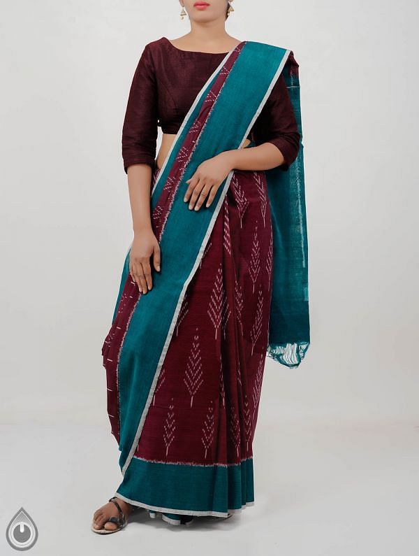 Maroon Pure Handloom pochampally Ikat Cotton Saree With Intricate Designs-UNT003