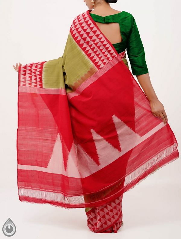 Green Pure Handloom pochampally Ikat Cotton Saree With Temple Designs-UNT004