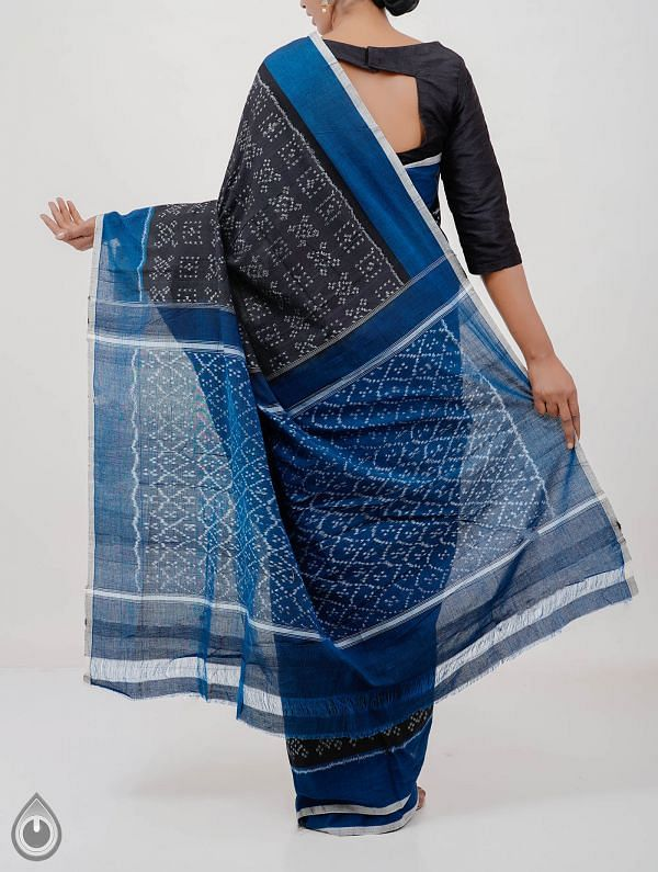 Black Pure Handloom pochampally Ikat Cotton Saree With Intricate Designs-UNT006