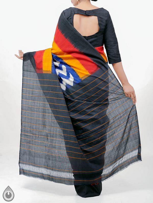 Blue Pure Handloom pochampally Ikat Cotton Saree With Intricate Designs-UNT007