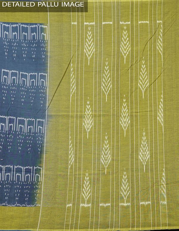 Blue Pure Handloom pochampally Ikat Cotton Saree With Intricate Designs-UNT012