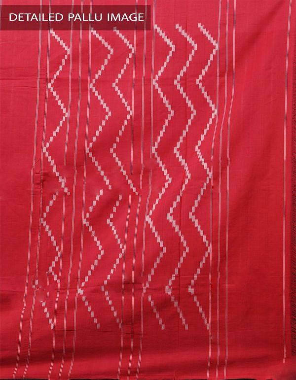 Black Pure Handloom pochampally Ikat Cotton Saree With Intricate Designs-UNT013