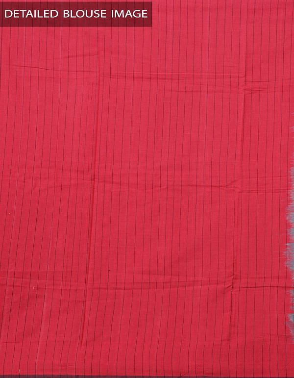 Grey-Red Pure Handloom pochampally Ikat Cotton Saree With Intricate Designs-UNT015