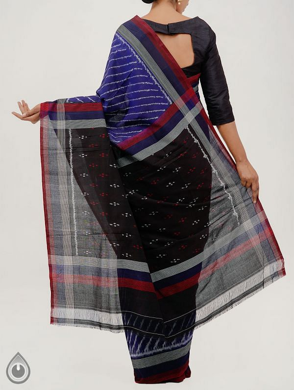 Blue Pure Handloom pochampally Ikat Cotton Saree With Intricate Designs-UNT021