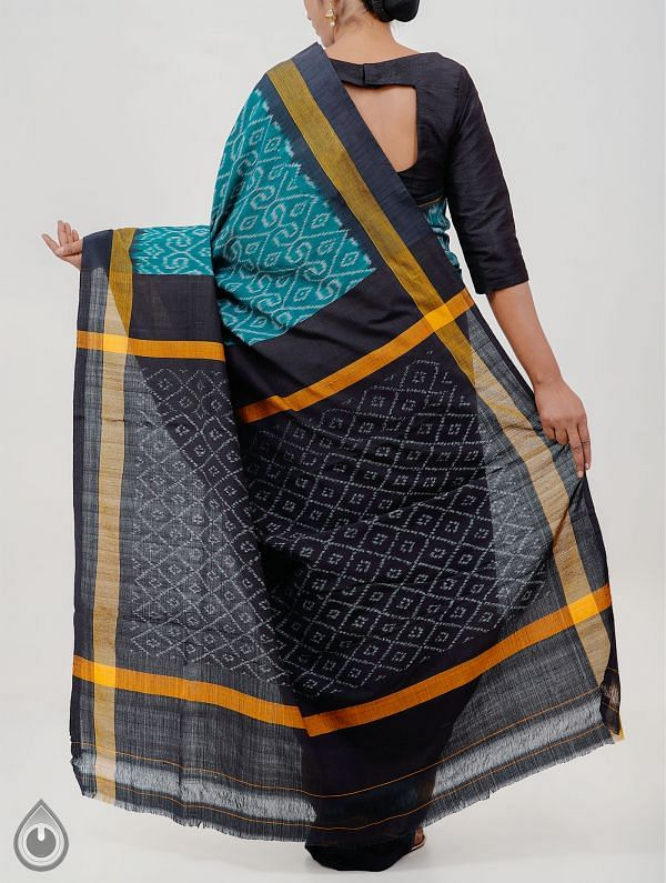 Green Pure Handloom pochampally Ikat Cotton Saree With Intricate Designs-UNT027