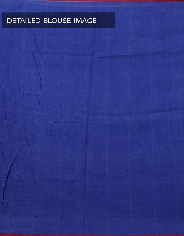 Blue Pure Handloom pochampally Ikat Cotton Saree With Intricate Designs-UNT031