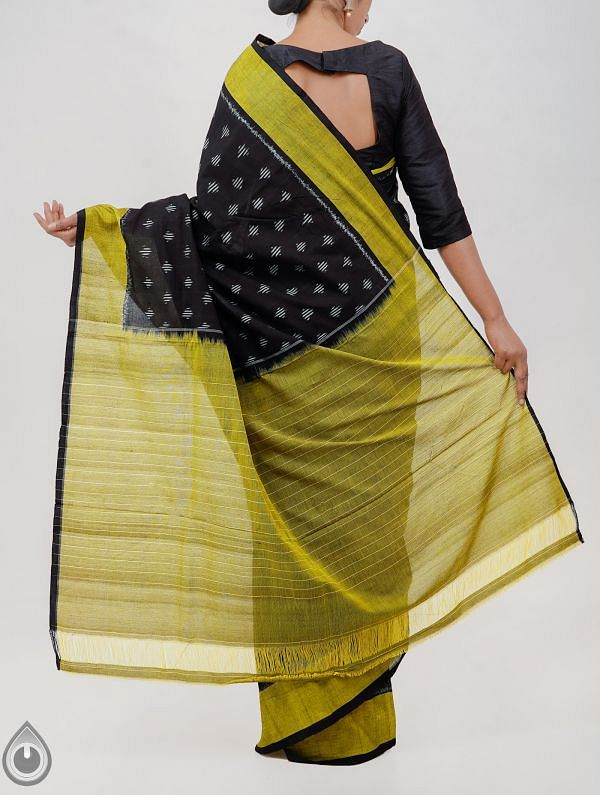 Black Pure Handloom pochampally Ikat Cotton Saree With Intricate Designs-UNT032