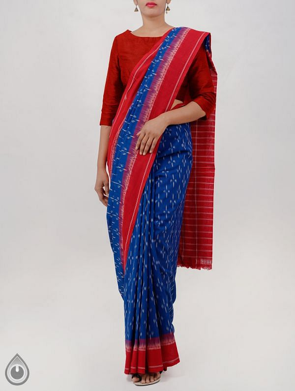 Blue Pure Handloom pochampally Ikat Cotton Saree With Intricate Designs-UNT033