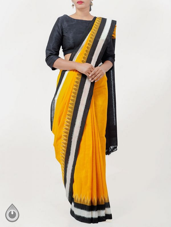 Orange Pure Handloom pochampally Ikat Cotton Saree With Intricate Designs-UNT034