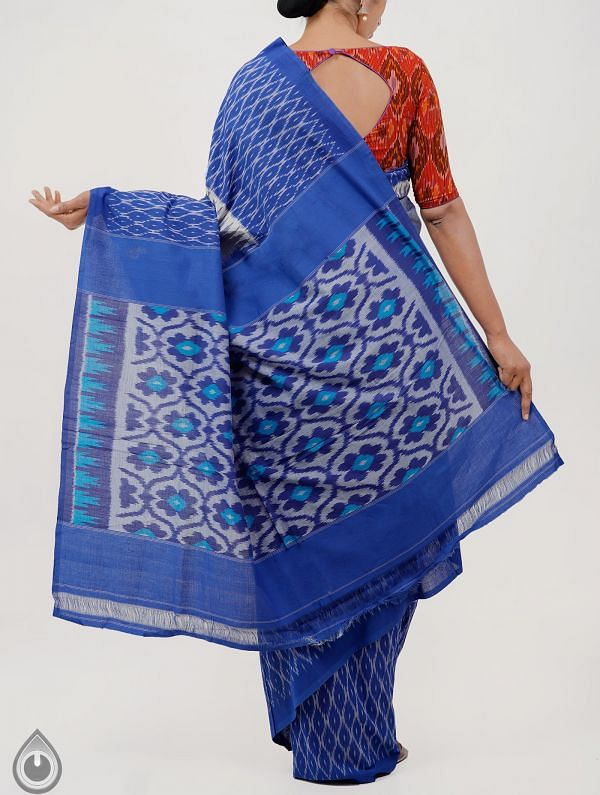 Grey-Blue Pure Handloom pochampally Ikat Cotton Saree With Intricate Designs-UNT037
