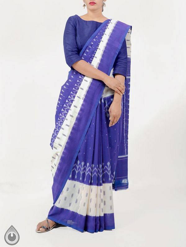 Violet Pure Handloom pochampally Ikat Cotton Saree With Intricate Designs-UNT038