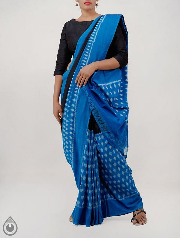 Online Shopping for Black-Blue Pure Handloom pochampally Ikat Cotton Saree With Intricate Designs with  Ikat Weaving from Andhra Pradesh at Unnatisilks.com India