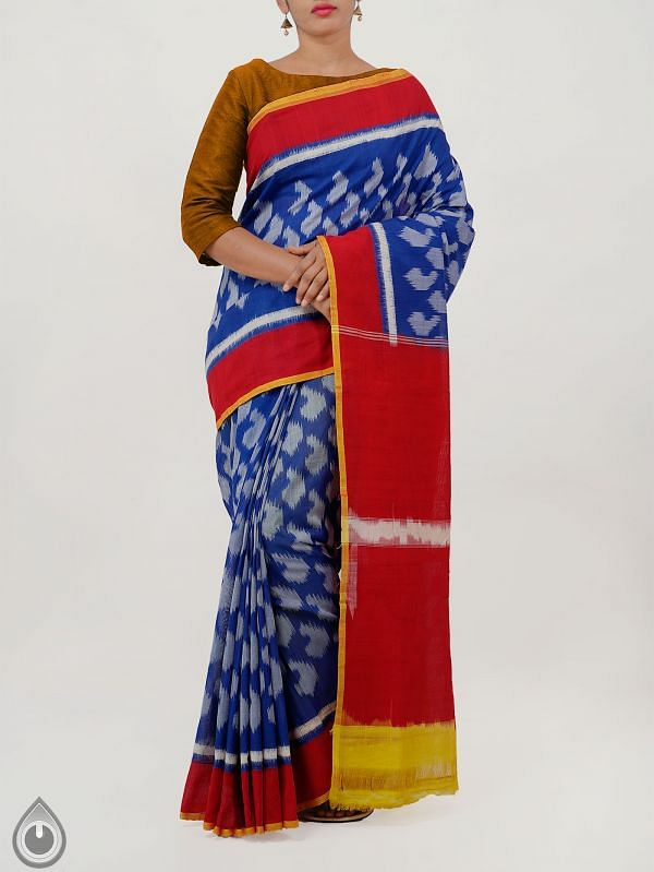 Violet Pure Handloom pochampally Ikat Cotton Saree With Intricate Designs-UNT040