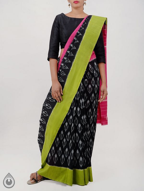 Black Pure Handloom pochampally Ikat Cotton Saree With Intricate Designs-UNT041