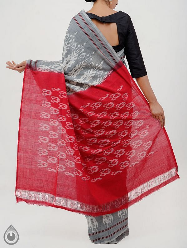 Grey Pure Handloom Pochampally Ikat Saree With Intricate Design-UNT045