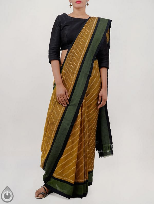 Online Shopping for Yellow Pure Handloom Pochampally Ikat Cotton Saree With Intricate Design with  Ikat Weaving from Andhra Pradesh at Unnatisilks.com India