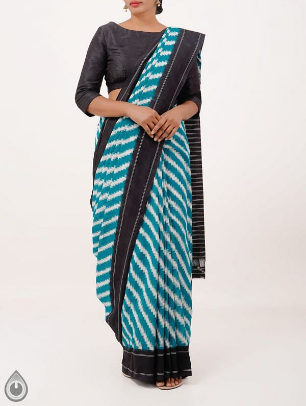 Green Pure Handloom Pochampally Ikat Cotton Saree With Intricate Design-UNT050