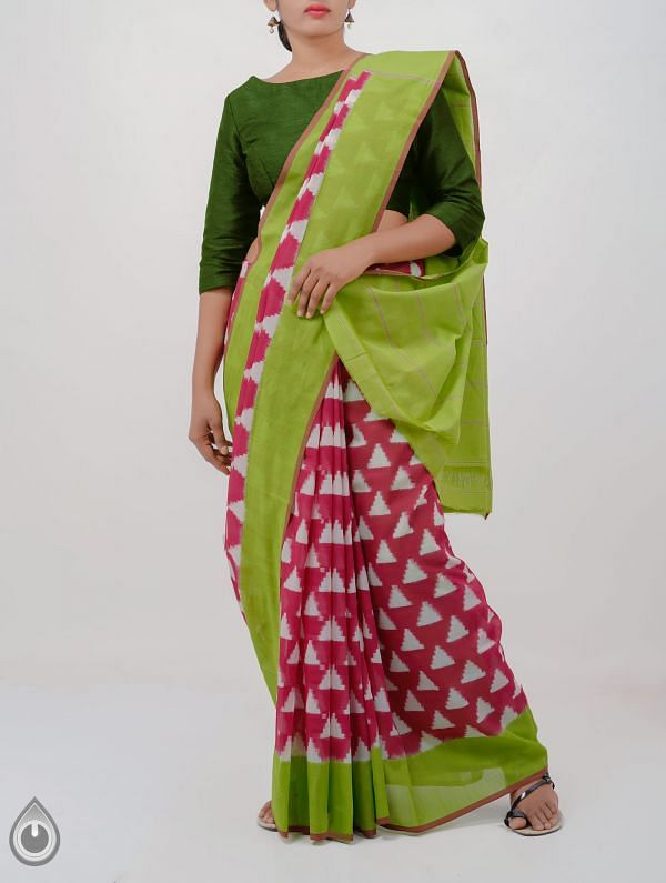 Pink Pure Handloom Pochampally Ikat Cotton Saree With Intricate Design-UNT052