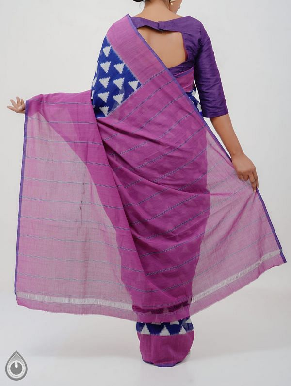 Blue Pure Handloom Pochampally Ikat Cotton Saree With Intricate Design-UNT053