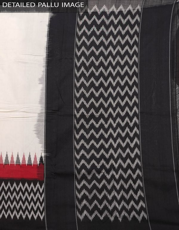 Off White Pure Handloom Pochampally Ikat Cotton Saree With Intricate Designs-UNT060