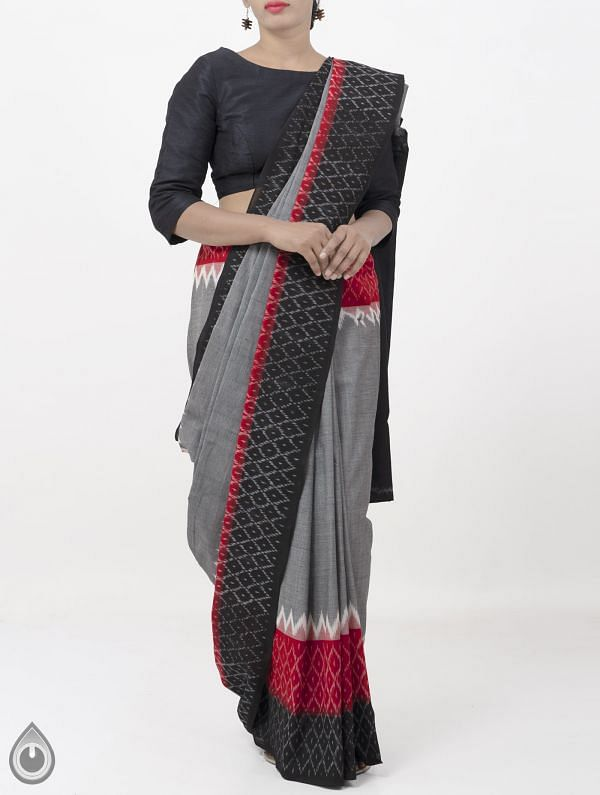 Grey Pure Handloom Pochampally Ikat Cotton Saree With Intricate Designs-UNT067