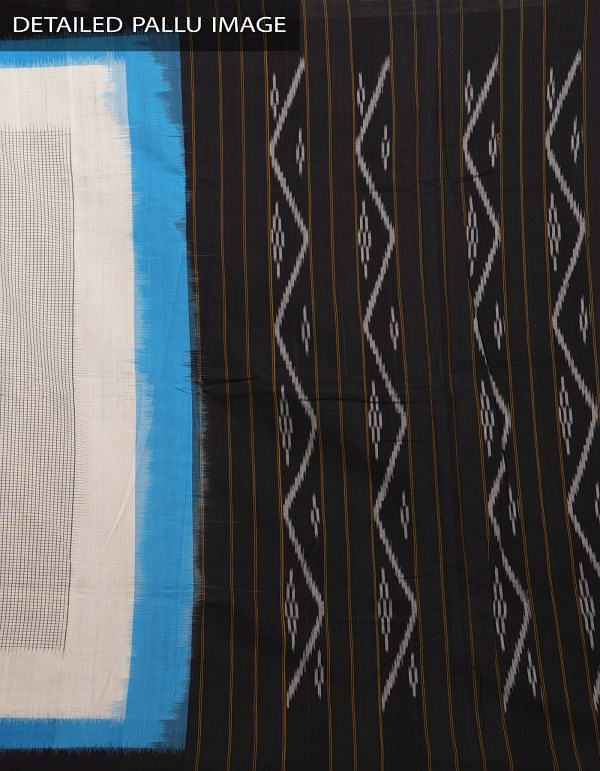 Off White Pure Handloom Pochampally Ikat Cotton Saree With Intricate Designs-UNT068