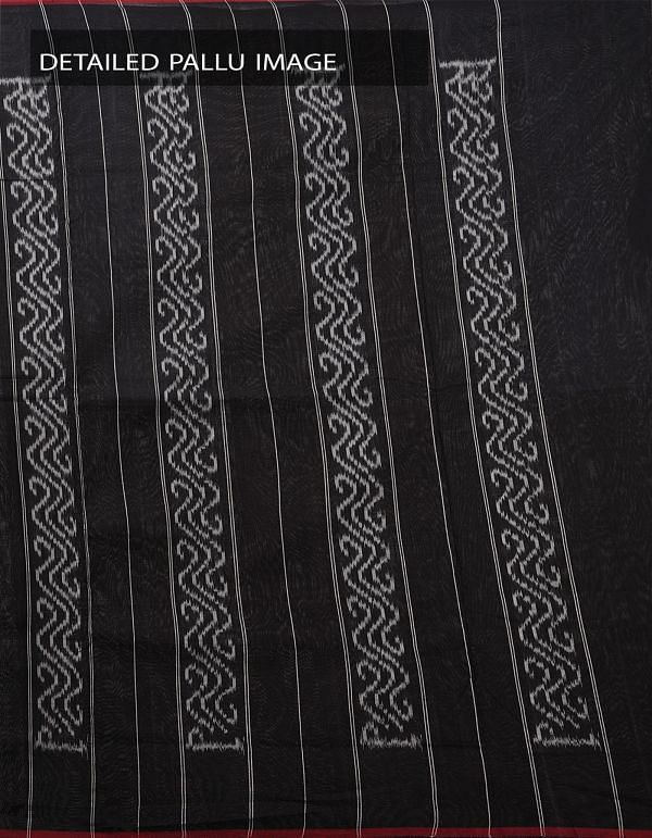 Off White-Black Pure Handloom Pochampally Ikat Cotton Saree With Intricate Designs-UNT072