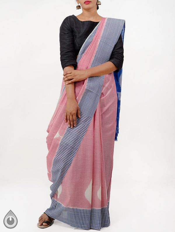 Pink Pure Handloom Pochampally Ikat Cotton Saree With Intricate Designs-UNT073