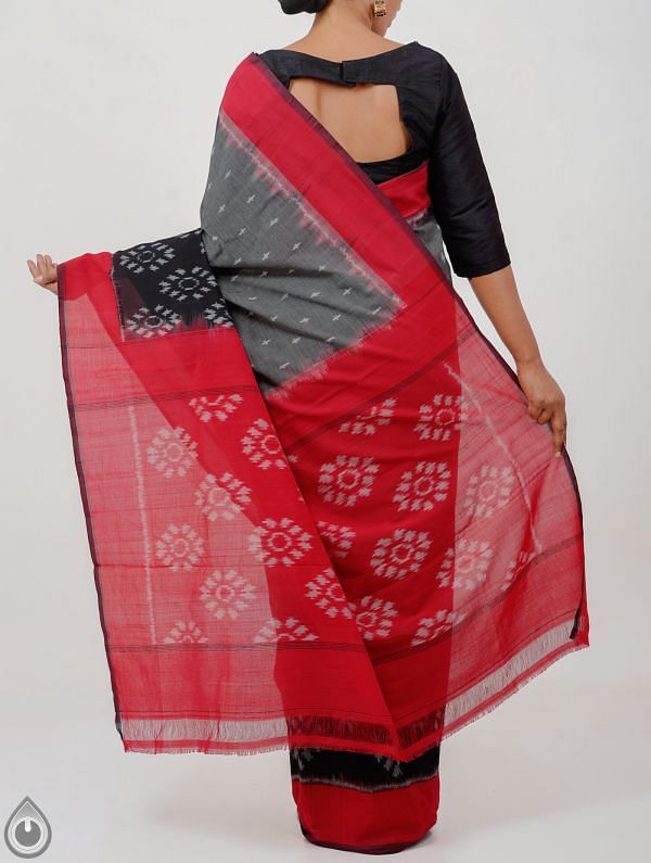 Grey-Black Pure Handloom Pochampally Ikat Cotton Saree With Intricate Designs-UNT077