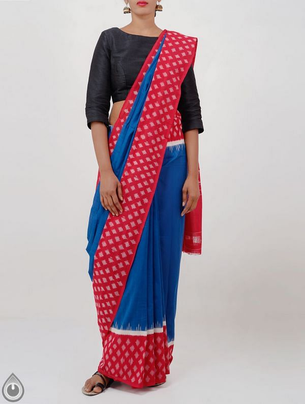 Blue Pure Handloom Pochampally Ikat Cotton Saree With Intricate Designs-UNT082