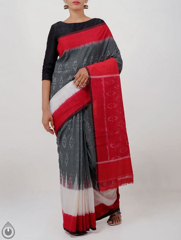 Online Shopping for Grey Pure Handloom Pochampally Ikat Cotton Saree With Intricate Designs with  Ikat Weaving from Andhra Pradesh at Unnatisilks.com India