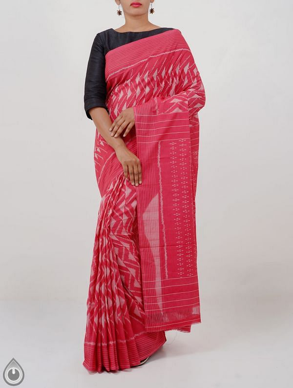 Red Pure Handloom Pochampally Ikat Cotton Saree With Intricate Designs-UNT087